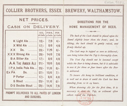 Advert for the Collier Brothers Brewery reverse